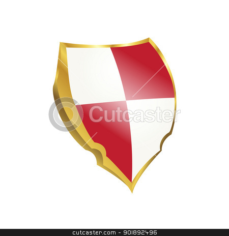 Protection shield stock vector clipart, Protection shield with red and white colors by Richard Laschon