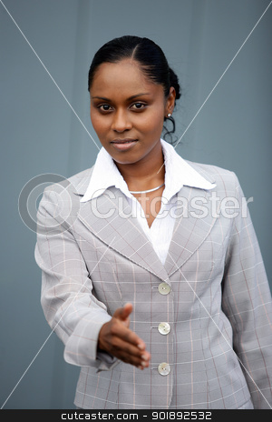 Businesswoman handing out hand stock photo, Businesswoman handing out hand by photography33