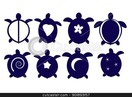 Hawaiian Turtle Silhouettes Stock Vector