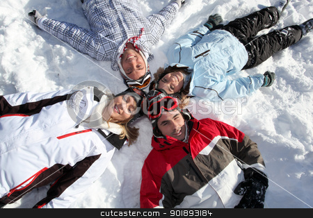 Friends playing in the snow stock photo, Friends playing in the snow by photography33