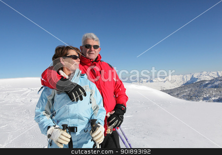Couple on a skiing trip stock photo, Couple on a skiing trip by photography33