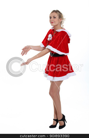 Mrs. Claus holding an invisible object stock photo, Mrs. Claus holding an invisible object by photography33
