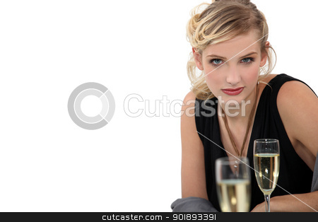young blonde drinking champagne stock photo, young blonde drinking champagne by photography33