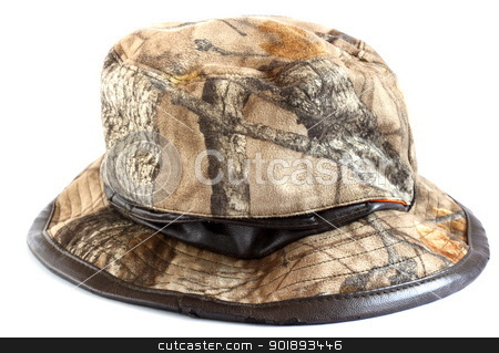 camouflage hunting hat stock photo, camouflage hunting hat over whte background by coroiu octavian