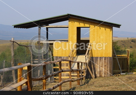 hunting hide structure stock photo, structure for observing or hunting wild animals in a very large enclosure by coroiu octavian