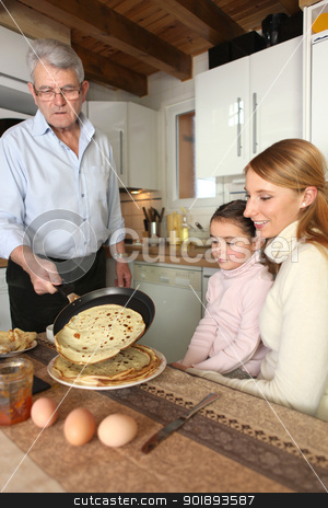 Family about to eat pancakes stock photo, Family about to eat pancakes by photography33