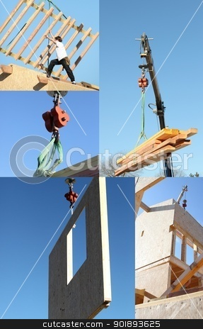 Mosaic of crane lifting timber stock photo, Mosaic of crane lifting timber by photography33