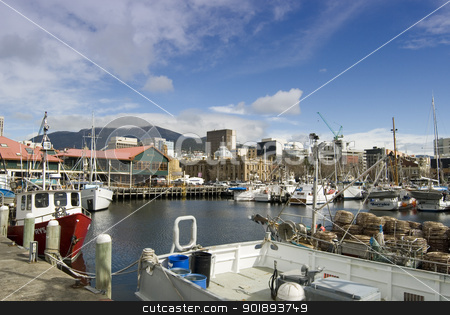 Hobart Constitution Docks stock photo, Fishing boats in Constitution dock, Hobart, Tasmania by Stephen Gibson