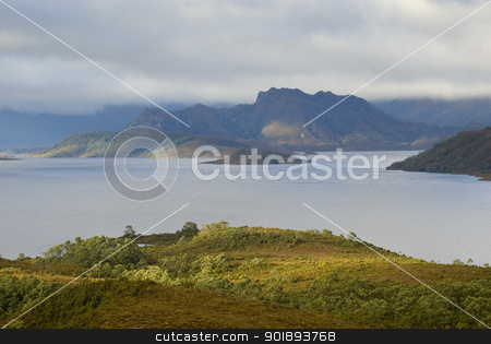 Lake Pedder stock photo, A panoramic view of Lake Pedder in the Tasmanian wilderness, Australia by Stephen Gibson