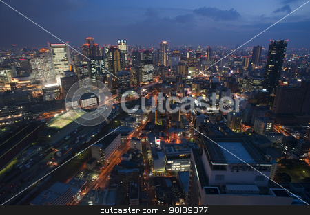 City of Osaka at night stock photo, Wide angle picture of urban Osaka at night taken from an elevated viewpoint by Stephen Gibson