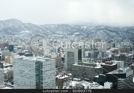Sapporo in Winter stock photo, The city of Sapporo as viewed in winter, Hokkaido, Japan by Stephen Gibson