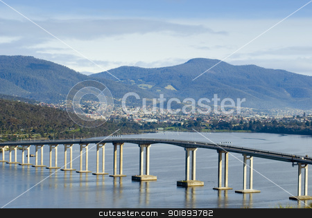 Tasman Bridge Derwent River stock photo, The Tasman bridge crossing of the Derwent river, Hobart, Tasmania, Australia by Stephen Gibson