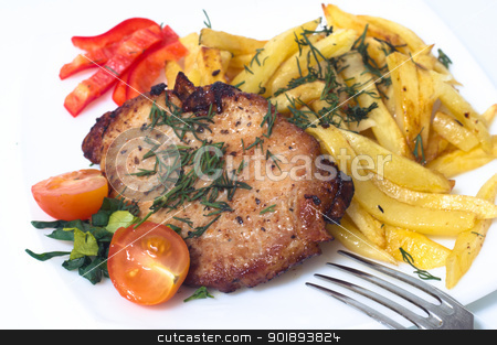 Grilled pork steak on white plate. stock photo, Grilled pork steak on white plate. Isolated by Evgeniy Ovchinnikov