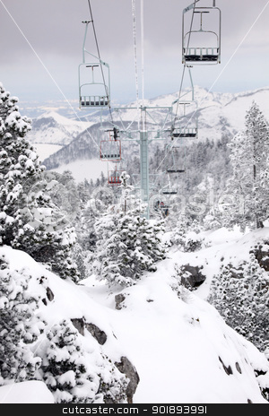 Ski resort chair lift stock photo, Ski resort chair lift by photography33