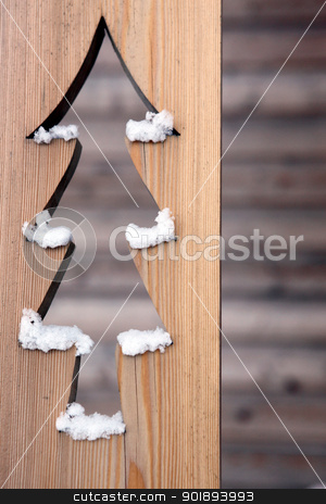 Christmas tree cut out in wood stock photo, Christmas tree cut out in wood by photography33
