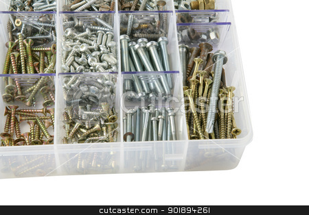 bolts in a plastic box stock photo, bolts in a plastic box by photography33