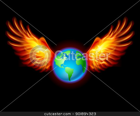 Planet the Earth with fiery wings stock photo, Planet the Earth with fiery wings, a color illustration on a black background by dvarg