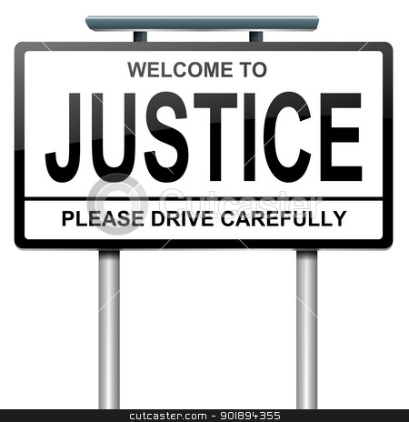 Justice concept. stock photo, Illustration depicting a roadsign with a justice concept. White background. by Samantha Craddock