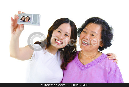 Self photographing stock photo, Asian girl and senior mother self photographing, isolated on white by szefei