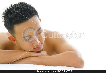 Man spa stock photo, Asian man having a relaxing time in beauty spa by szefei