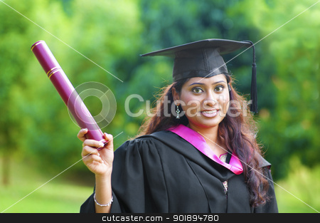 Graduation stock photo, Smiling Young Asian Indian female student showing her certificate by szefei