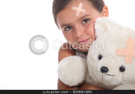 Girl with plaster on head stock photo, Girl with plaster on head by photography33