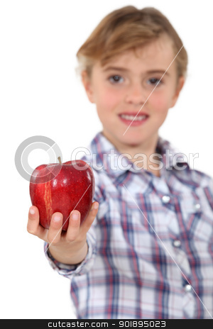 Girl holding a red apple stock photo, Girl holding a red apple by photography33