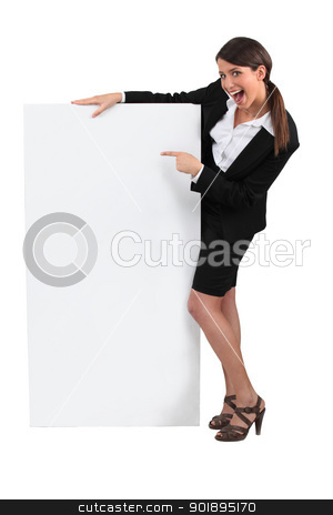 Businesswoman with advertising board stock photo, Businesswoman with advertising board by photography33