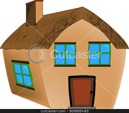 Thatched Cottage. stock vector clipart, A small countryside thatched cottage. by Kotto