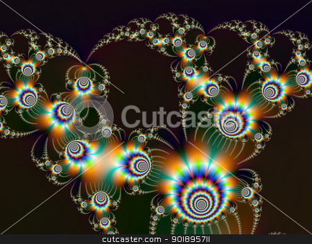 Fireworks Fractal  stock photo, Digital abstract image with a fractal firework design in blue, orange, green and gold on a dark background. by Colin Forrest