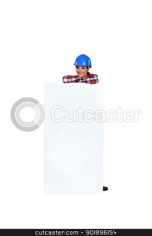 cheerful woman behind white sign stock photo, cheerful woman behind white sign by photography33