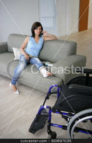 Woman with her leg in a cast stock photo, Woman with her leg in a cast by photography33