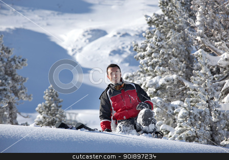 Man slipping on the snow stock photo, Man slipping on the snow by photography33