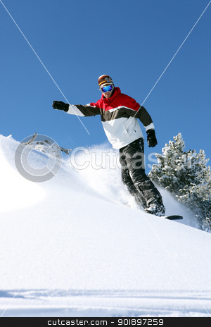 Snowboarder in action stock photo, Snowboarder in action by photography33