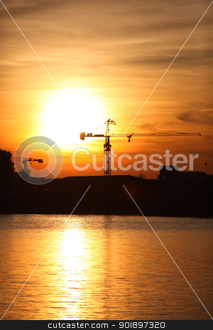 Construction site at sunset stock photo, Construction site at sunset by photography33
