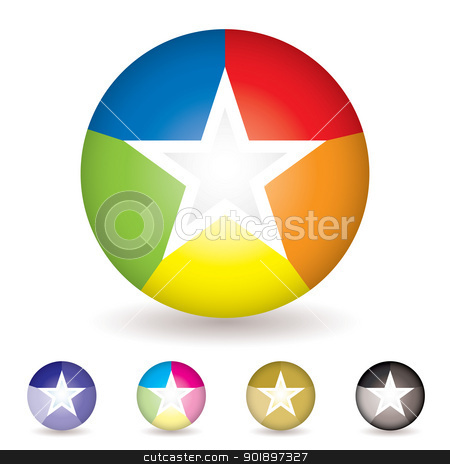 Rainbow ball icon stock vector clipart, Collection of five bright colourful beach ball icons with rainbow effect by Michael Travers