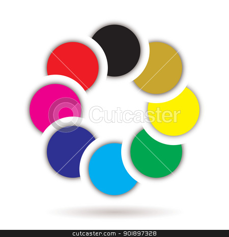 Rainbow icon stock vector clipart, Overlapping rainbow collection of circles with copy space by Michael Travers