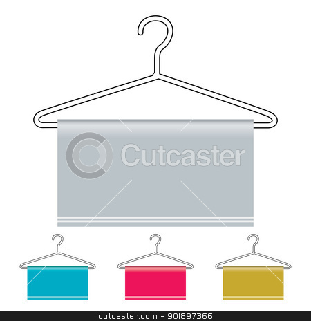 Coat hanger icon stock vector clipart, Outline coat hanger with material draped over and copy space by Michael Travers