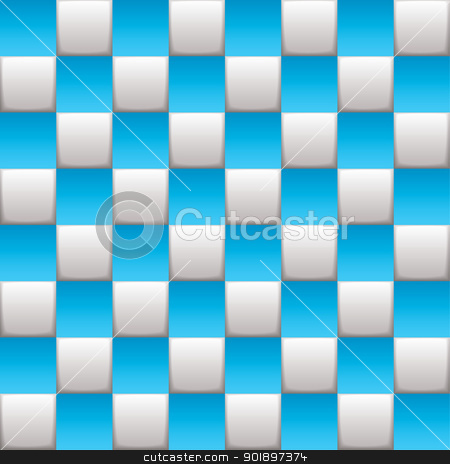 Checkered board blue stock vector clipart, Blue and white squares on a seamless checkered background by Michael Travers