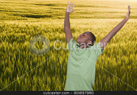 Teenager with Allergies stock photo, Handsome young African American teenager with allergies in a field by Robert Byron