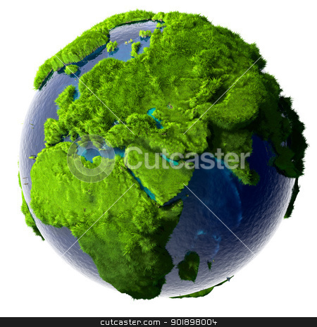 Green Planet Earth stock photo, Earth with a pure transparent ocean is completely covered with lush green grass - a symbol of a clean environment, rich in natural resources and good environmental conditions. by Antartis