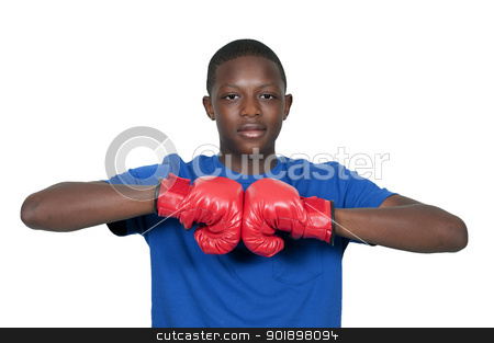 Black Teenage Boxer stock photo, Black African American teenage boy athletic boxer with boxing gloves by Robert Byron