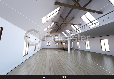 Empty House stock photo, Architecture interior visualisation. 3D rendered Illustration. by Michael Osterrieder