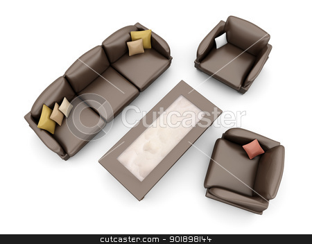 Living room furniture stock photo, A Sofa with armchairs. 3D rendered Illustration. Isolated on white. by Michael Osterrieder