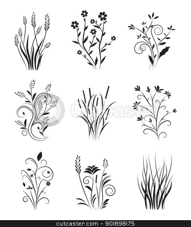 Vintage Floral Set Stock Vector Clipart Collection Of Nine Designs In Black Color