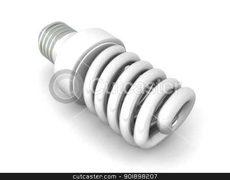 Energy Saver Light Bulb stock photo, 3D rendered Illustration. Isolated on white. by Michael Osterrieder