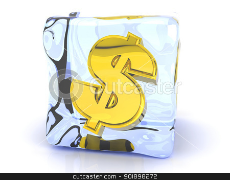 Frozen Dollar stock photo, 3D rendered Illustration. A Dollar symbol in a Ice cube.  by Michael Osterrieder