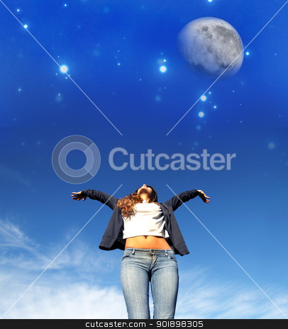 Jumping to the Stars stock photo, A young woman jumping to the night sky. by Michael Osterrieder