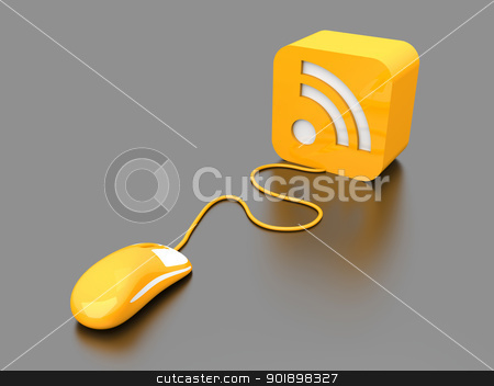 RSS Click stock photo, 3D rendered Illustration. Clicking a RSS symbol.  by Michael Osterrieder