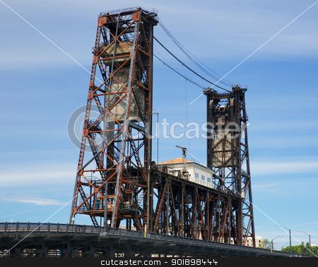 Old Steel Bridge Portland stock photo, Old rusted Steel Bridge Portland against a hazy blue sky by bobkeenan